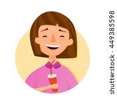 brunet girl laugh with soda...   Shutterstock .eps vector #449385598