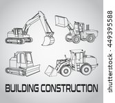 outline excavator set icon.... | Shutterstock .eps vector #449395588