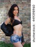 beautiful young woman posing... | Shutterstock . vector #449398960