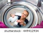 housework  young woman doing... | Shutterstock . vector #449412934