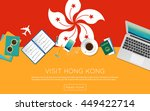 visit hong kong concept for... | Shutterstock .eps vector #449422714
