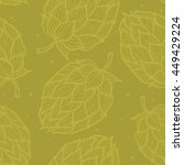 seamless pattern with  hops.... | Shutterstock .eps vector #449429224