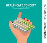 strip of 28 contraceptive pill. ... | Shutterstock .eps vector #449434273