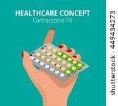 strip of 28 contraceptive pill. ... | Shutterstock .eps vector #449434273