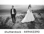 beautiful bride and groom... | Shutterstock . vector #449443390