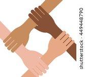 multi ethnic hands teamwork... | Shutterstock .eps vector #449448790