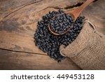sack of black beans spill beans ...   Shutterstock . vector #449453128