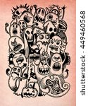 vector set of scary funny... | Shutterstock .eps vector #449460568