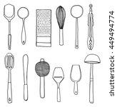 vector kitchen utensils hand... | Shutterstock .eps vector #449494774
