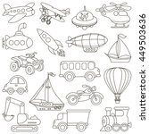 toy transport set to be colored.... | Shutterstock .eps vector #449503636