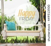 Small photo of Happy friday word with vintage swing and Turquoise blue green pillow