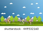 group of bicycle riders on... | Shutterstock . vector #449532160