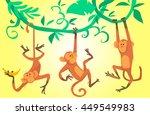 Cartoon Monkeys Hanging On...