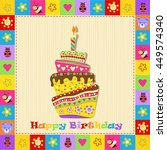 happy birthday card with cake | Shutterstock .eps vector #449574340