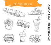 Fast Food Vector. Hand Drawn...