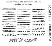doodle ink brushes and hand... | Shutterstock .eps vector #449639704