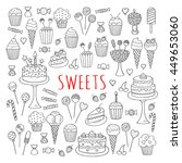 sweets set  vector icons hand... | Shutterstock .eps vector #449653060