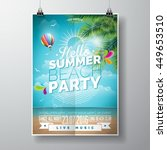 vector summer beach party flyer ... | Shutterstock .eps vector #449653510