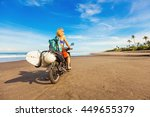 wonderful trip   woman riding a ... | Shutterstock . vector #449655379