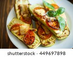 zucchini baked with tomatoes... | Shutterstock . vector #449697898