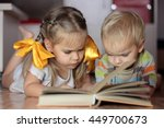 two cute kids  girl with yellow ... | Shutterstock . vector #449700673