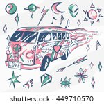 love bus vector poster. hippie...