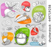 set of stickers in sketch style ... | Shutterstock .eps vector #449719258