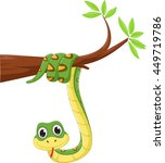funny snake on a tree branch | Shutterstock .eps vector #449719786