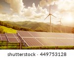 solar panels with wind turbines ... | Shutterstock . vector #449753128