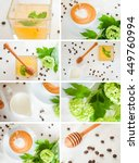 lush collage of coffee  milk... | Shutterstock . vector #449760994