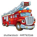 cartoon funny firetruck  ... | Shutterstock . vector #449763166