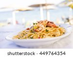 plate of sea food  spicy pasta... | Shutterstock . vector #449764354