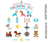 flat baby icons on a white... | Shutterstock .eps vector #449790784