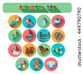 baby icons on circular colored... | Shutterstock .eps vector #449790790