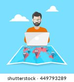 remote work is in a network | Shutterstock .eps vector #449793289