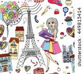 shopping in paris seamless...   Shutterstock .eps vector #449815414