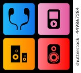 audio player and speakers icons