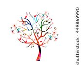 Colorful Music Tree With Music...