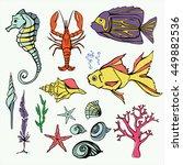 underwater world big set hand...   Shutterstock . vector #449882536
