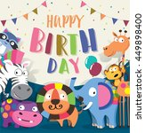 birthday card with cute animal | Shutterstock .eps vector #449898400