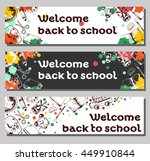 three vector flyer welcome back ... | Shutterstock .eps vector #449910844