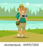 grandfather tourist with camera ... | Shutterstock .eps vector #449917204