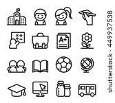 school icon set in thin line... | Shutterstock .eps vector #449937538