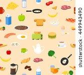 breakfast food and drinks...   Shutterstock .eps vector #449943490