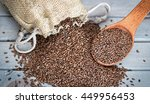 Flax Seeds In A Wood Spoon On A ...