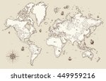 high detailed  old world map... | Shutterstock .eps vector #449959216