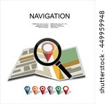 folded map with magnifying glass | Shutterstock .eps vector #449959948