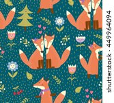 seamless pattern with cute... | Shutterstock .eps vector #449964094
