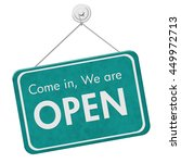 come in we are open sign  a... | Shutterstock . vector #449972713
