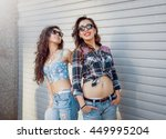 young girls with skateboard on... | Shutterstock . vector #449995204